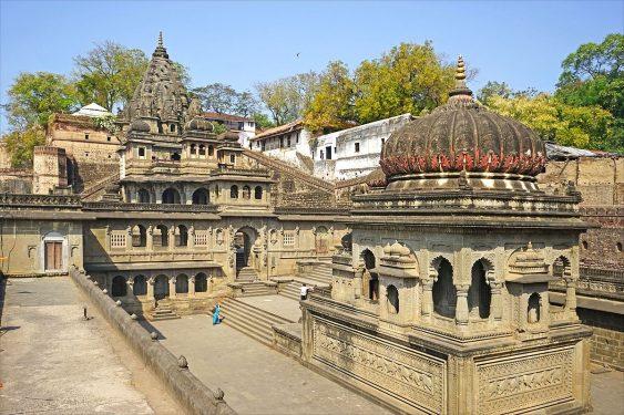A temple in Maheshwar on Narmada river Madhya Pradesh India