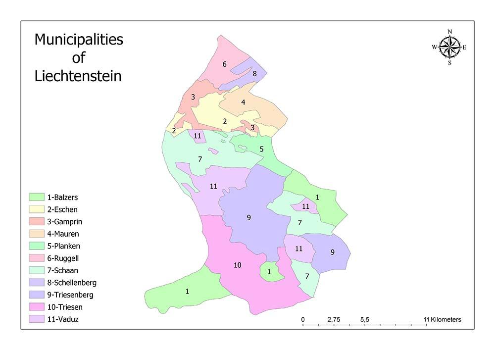 Municipalities of Liechtenstein Map